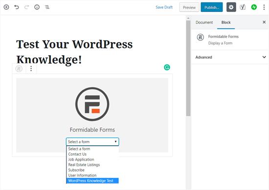 Chọn tiện ích biểu mẫu câu đố của bạn trong WordPress
