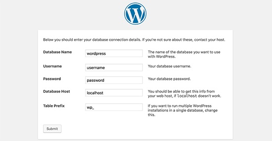 Enter database information for WordPress installation
