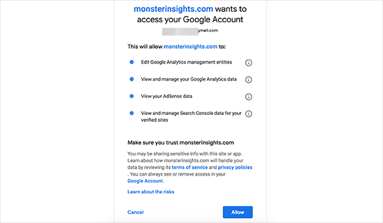 Allow MonsterInsights to access your Google Analytics account