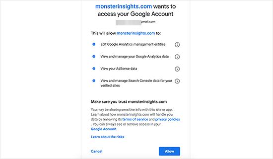 Autoriser MonsterInsights à accéder à votre compte Google Analytics
