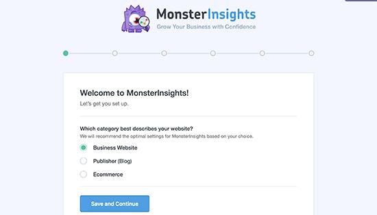 Assistant d'installation MonsterInsights : installer Google Analytics dans WordPress