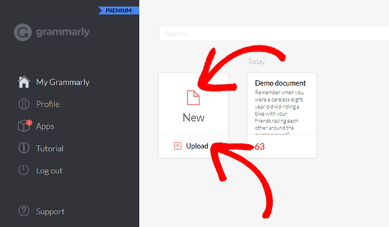 Add New Document in Grammarly Web app