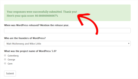 Điểm đố được hiển thị trong WordPress