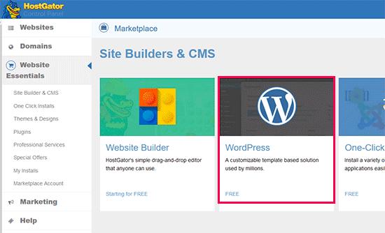 Ejecute el instalador de WordPress en HostGator
