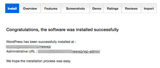 Instalación sofisticada de WordPress terminada