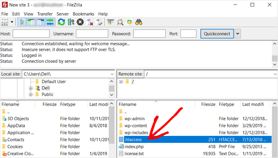 WordPress .htaccess File in Filezilla