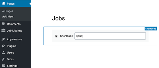 Adding a jobs shortcode