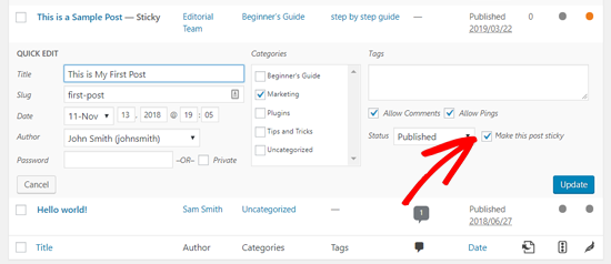 Make this Post Sticky Option in WordPress