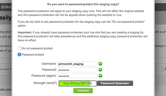 Password protect staging site