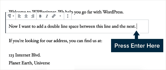 Adding double line spacing in WordPress