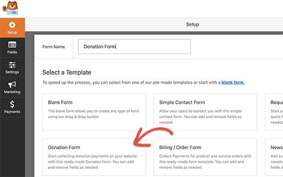 Create a donation form