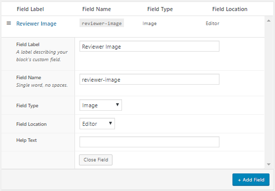Image Field Options