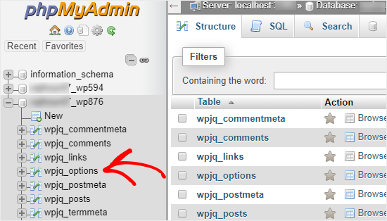 phpMyAdmin open database and table