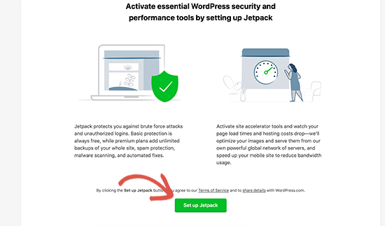 Screenshot of how to activate WordPress Jetpack plugin