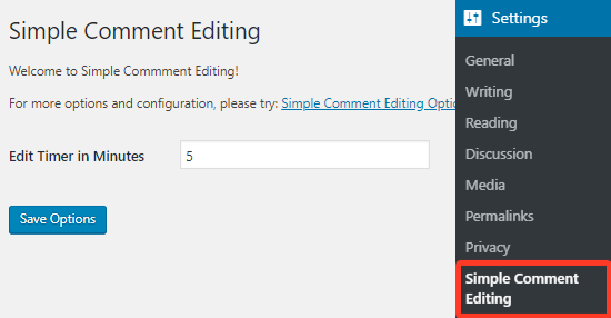 Simple Comment Editing plugin settings