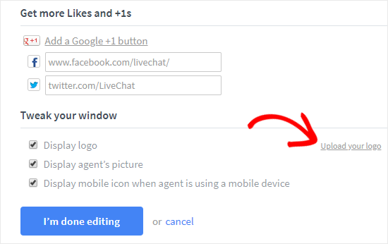 Upload Logo and Add social links to LiveChat