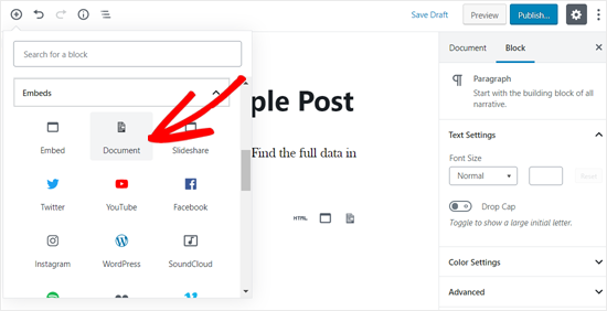 Add Document Block in WordPress Editor