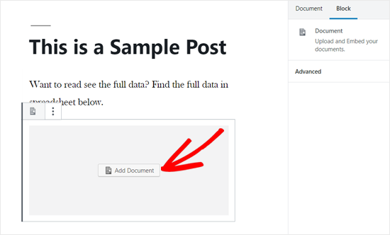 Add Document Option in WordPress Post Editor