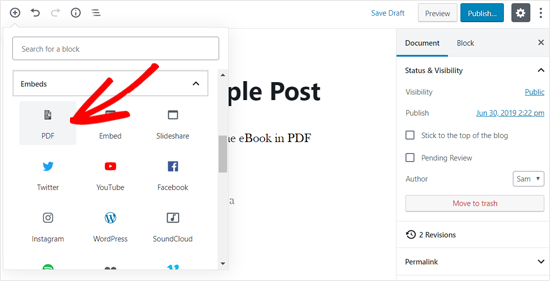 Choose PDF Embed Block in WordPress Post Editor