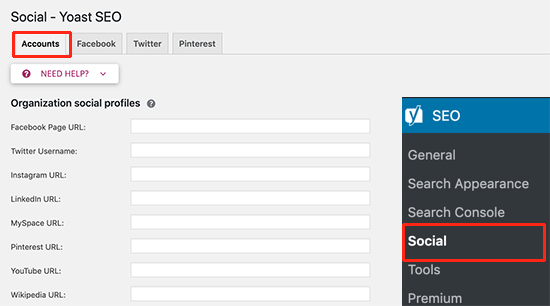 Add your social media profiles in Yoast SEO settings