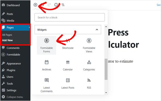 Ajouter un bloc de formulaires formable dans WordPress Page Editor
