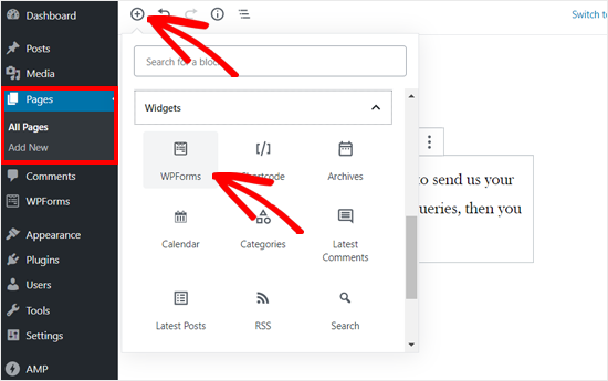 Add WPForms Block to WordPress Page Editor