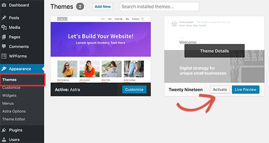 Activate default WordPress theme