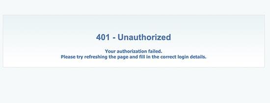 401 Authorization failed error