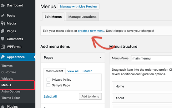Creating a new menu in WordPress