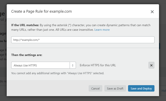 Create Page Rule to Use HTTPS in WordPress