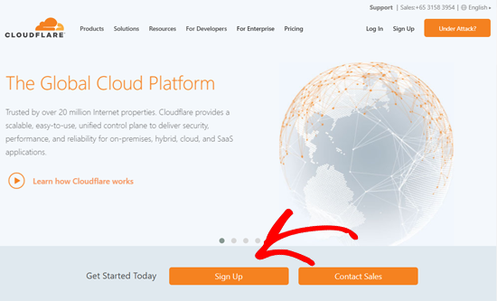 Sign Up on Cloudflare Website