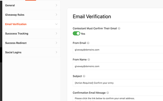 Turn on email verification