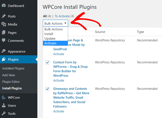 Activate Plugins in Bulk with WPCore