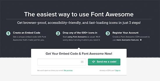 Font Awesome gömme kodunu alın