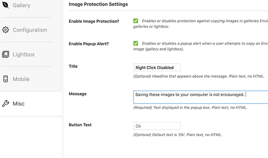 Image protection settings