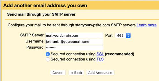 SMTP information