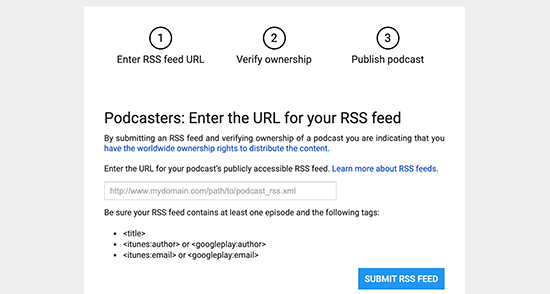 Submit podcast feed