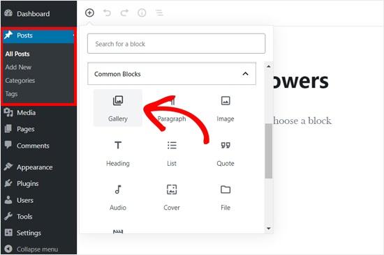 adding gallery block to wordpress posteditor