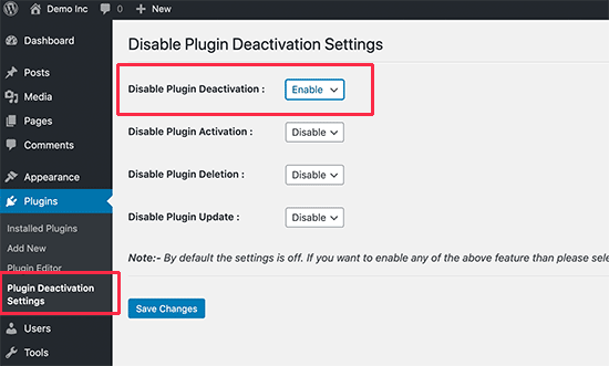 Disable Plugin Deactivation settings