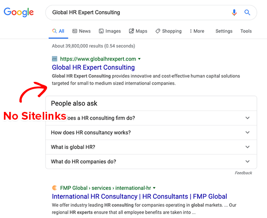 No Google Sitelinks for Generic Brands
