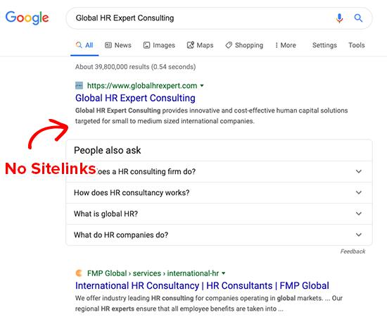 Nessun sitelink Google per marchi generici