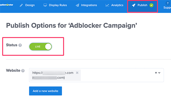 Publish your Adblock tracking campaign