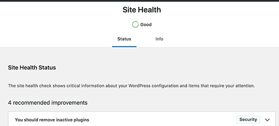 Site Health score in WordPress 5.3