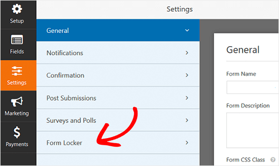 WPForms Form Locker Settings