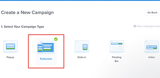 Choose full screen as your campaign type