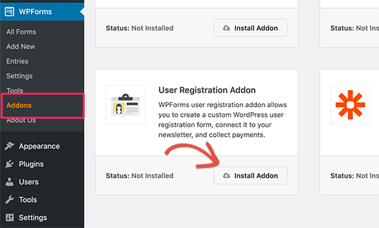 Install user registration and login forms addon