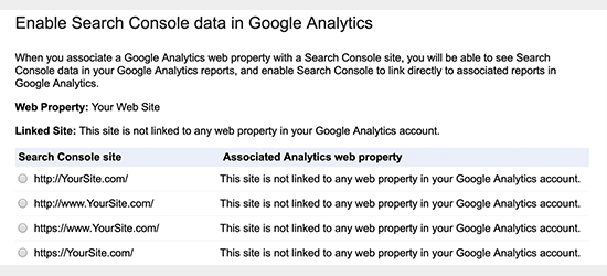 Select Google Search Console property