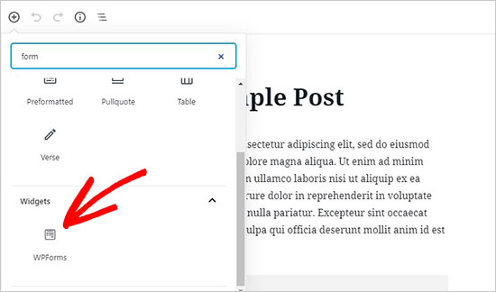 WPForms-widget