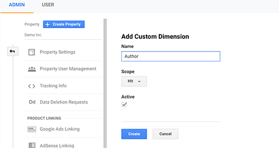 Creating author custom dimension