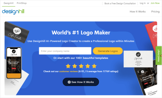 The Designhill logo maker